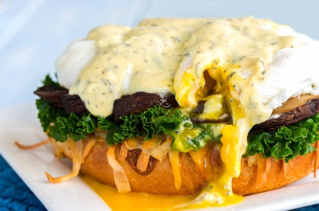 Eggs Benedict on a roll.