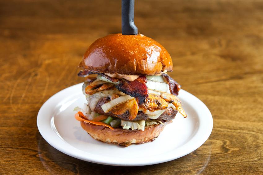 cheeseburger with bacon, egg, onion