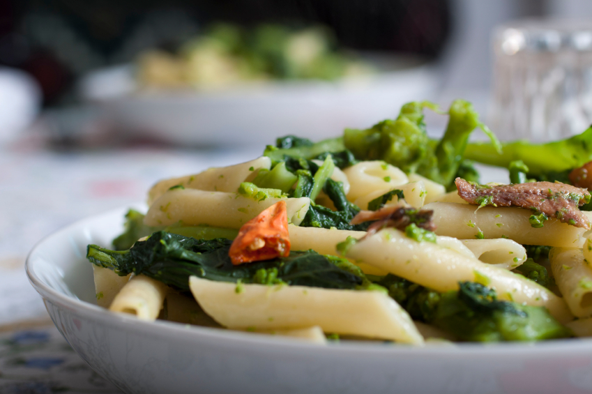 Penne with turnip greens