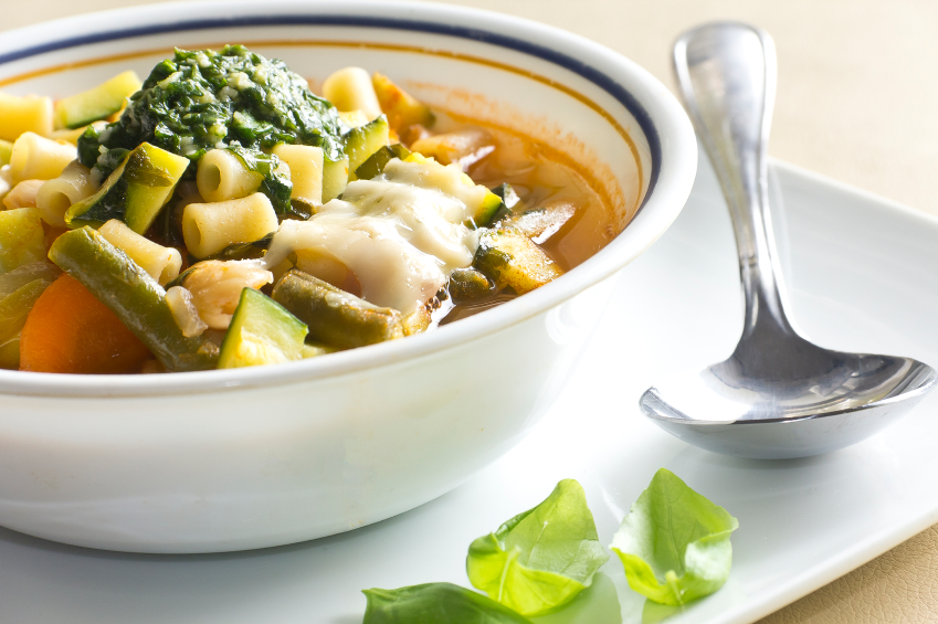 A bowlful of minestrone soup