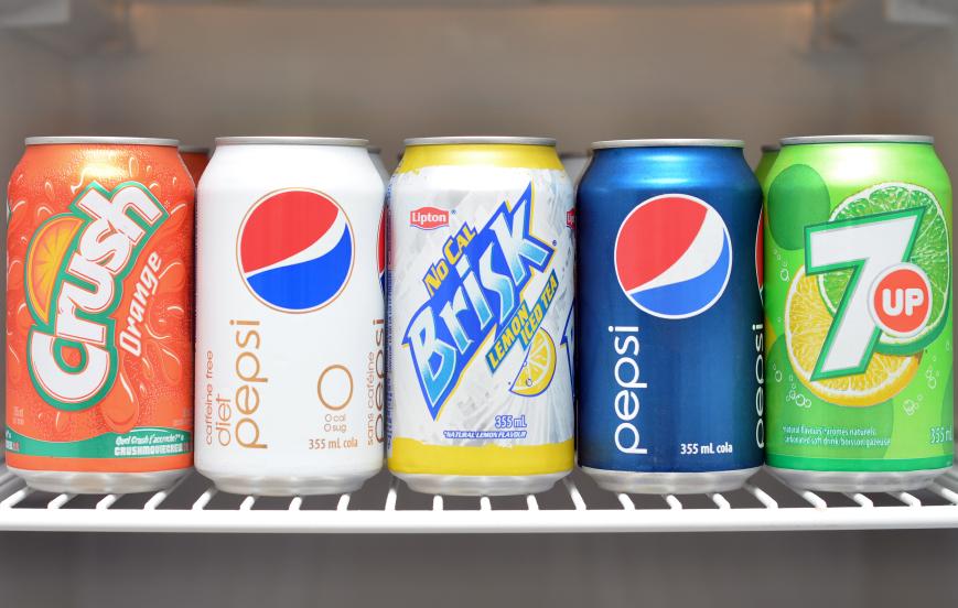 Sodas in a fridge