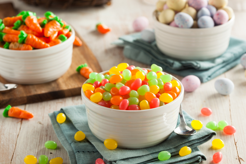 Easter candy jellybeans and eggs