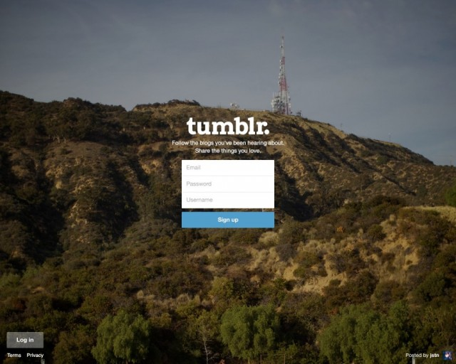 Tumblr web registration