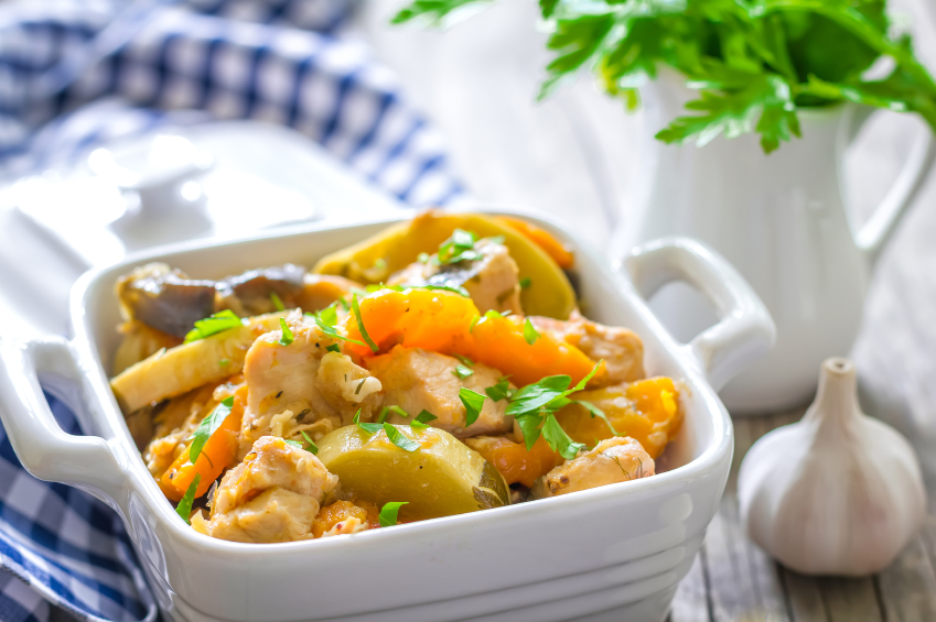 ragout in a white dish