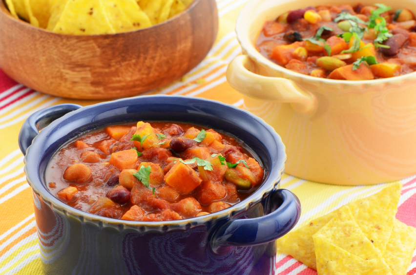 Vegetarian chili with sweet potatoes