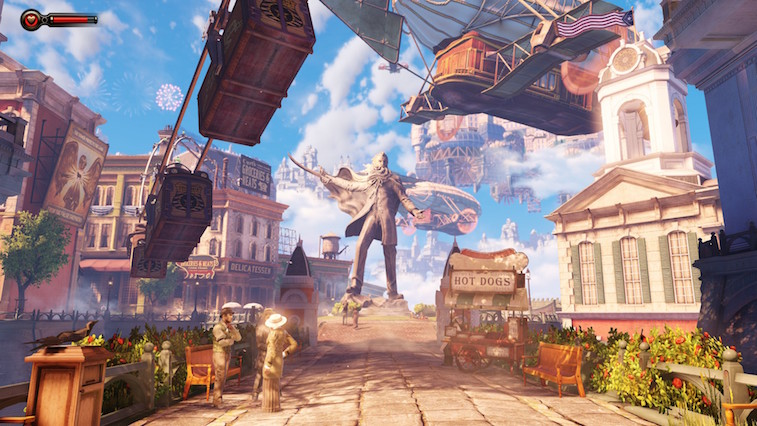 The colorful game world of Bioshock Infinite.