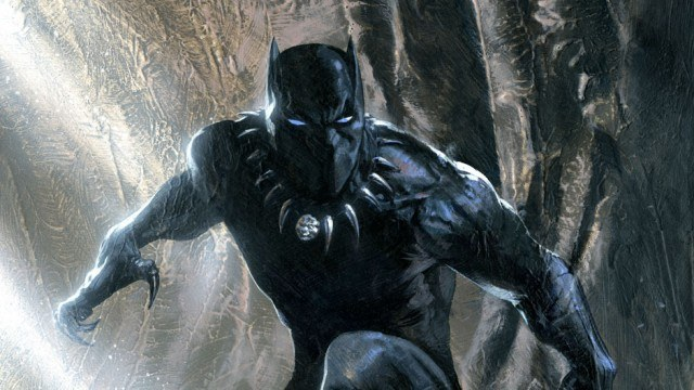 Black Panther, with his claws and arms out, set to a jungle background.