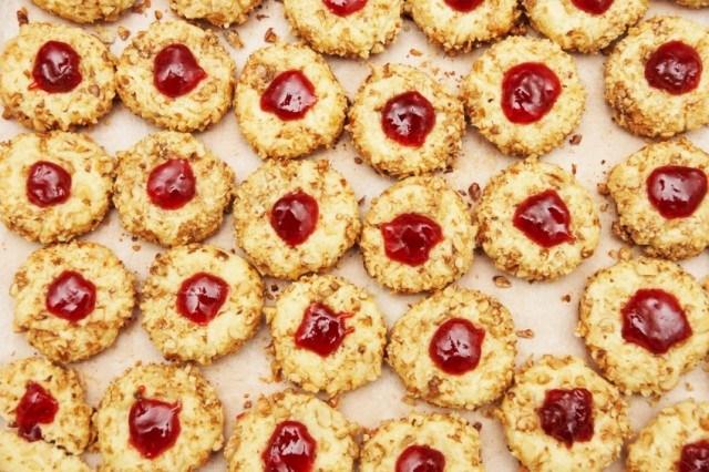 Shortbread, thumbprint cookies, jam