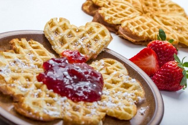 Waffles, jam, jelly