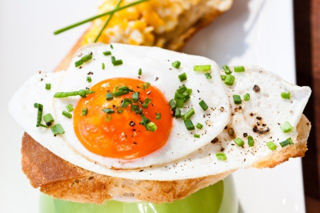 fried egg on toast with chives
