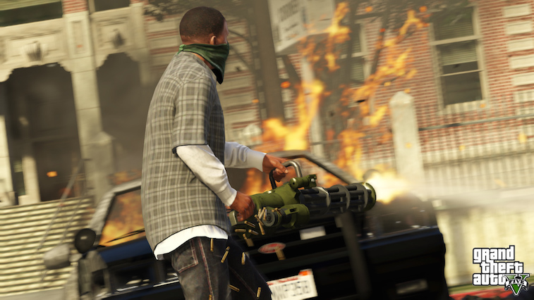 A character from GTA5 setting fire to a car.