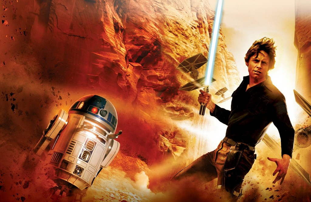 Luke Skywalker standing next to R2-D2, while holding a lightsaber and looking to the right of the frame