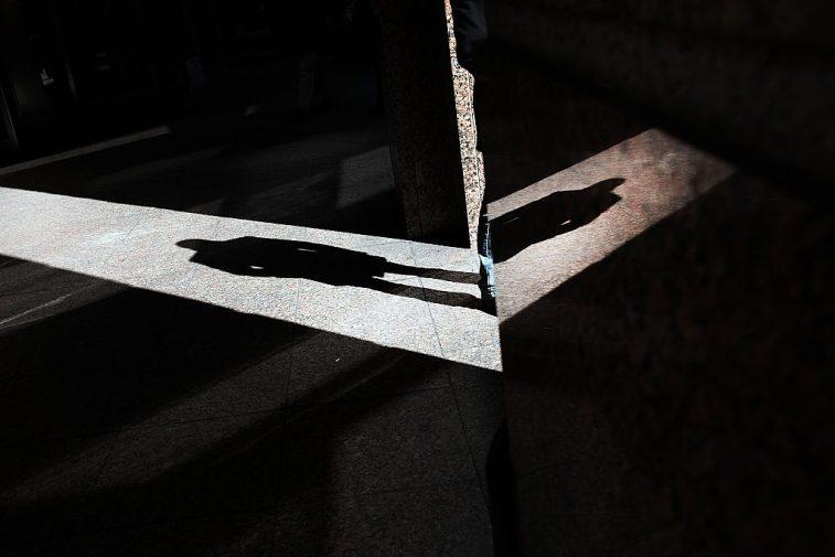 man's shadow