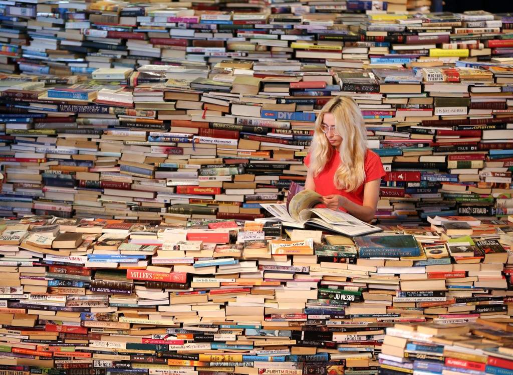woman in a maze of books