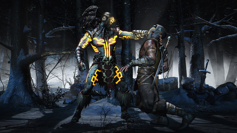 Scorpio fighting in a dark forest in Mortal Kombat X.