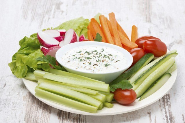 plate with fresh vegetables