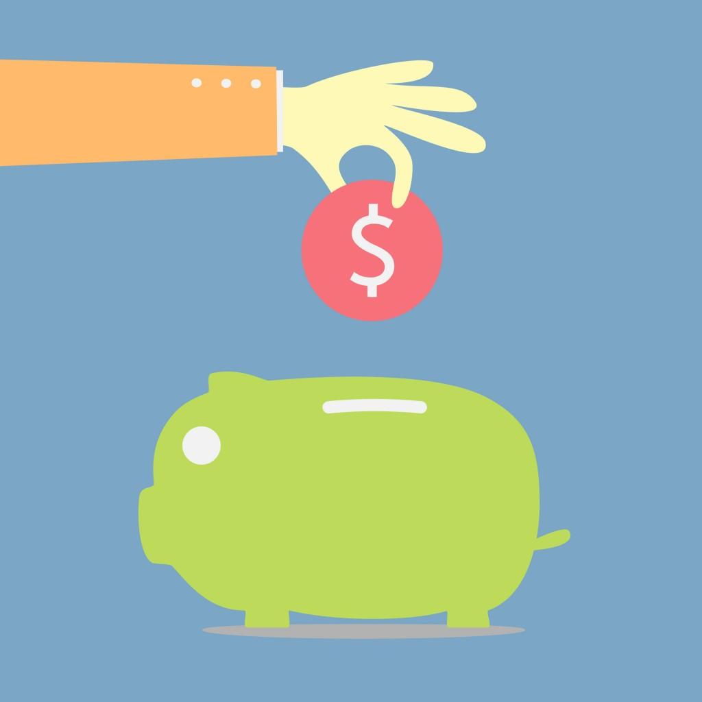 cartoon of saving money in piggy bank