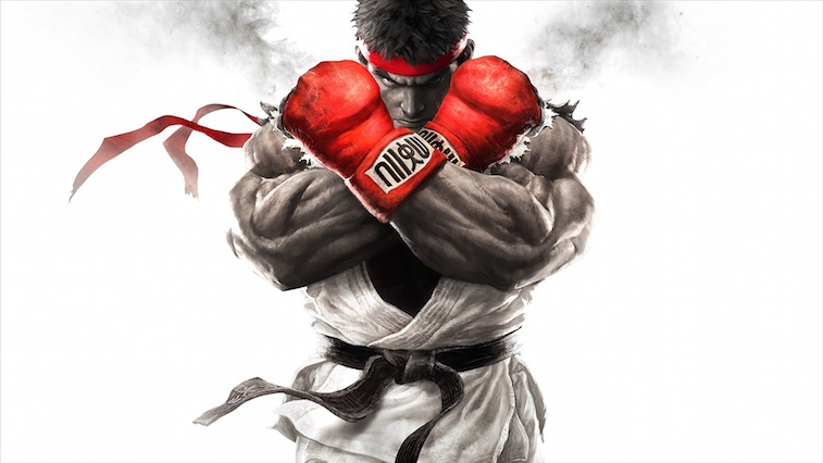 Street Fighter V star Ryu holding up his fists in a defensive stance.