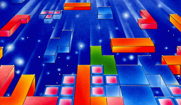 Tetris blocks fall from the sky.