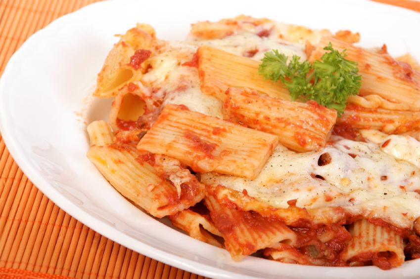tomato rigatoni with cheese, pasta