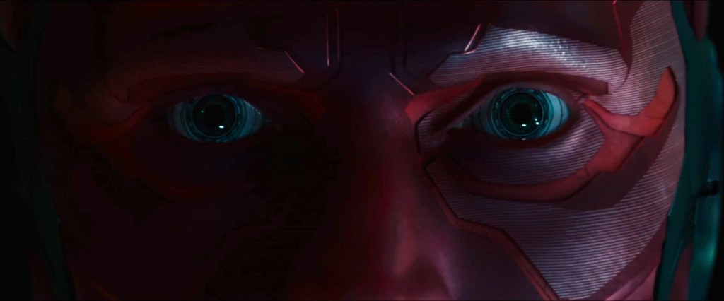 A close-up of Vision's eyes and face in Avengers: Infinity War