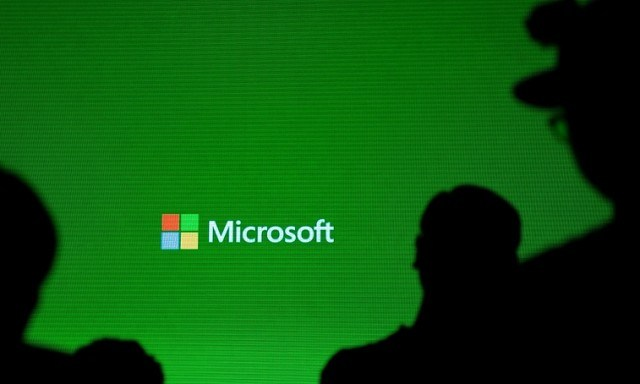 A Microsoft logo is pictured during the presentation of the Xbox One - Johannes Eisele/AFP/Getty Images