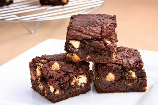Brownies with nuts in the center