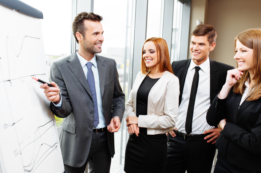 businessman presenting at meeting