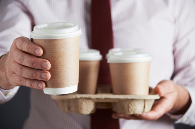 Tray of takeout coffee cups