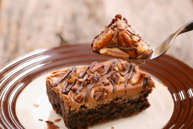 One of the best classic dessert recipes is this one for caramel-pecan brownies