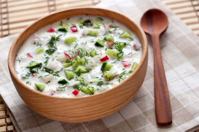 Cucumber radish salad with creamy yogurt dill dressing