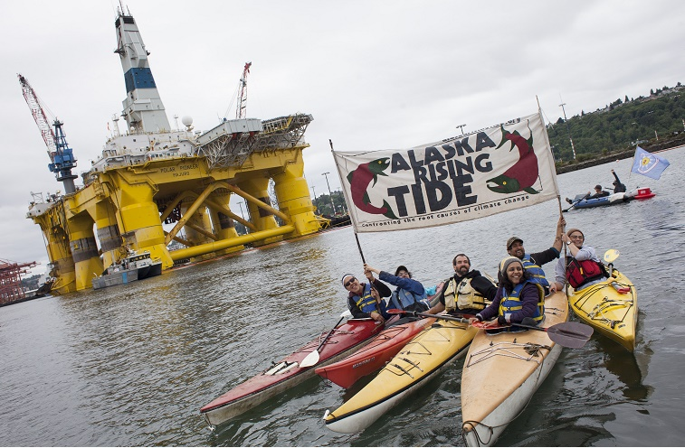 Protesters Take To Kayaks To Demonstrate Against Shell's Plans To Drill In Arctic