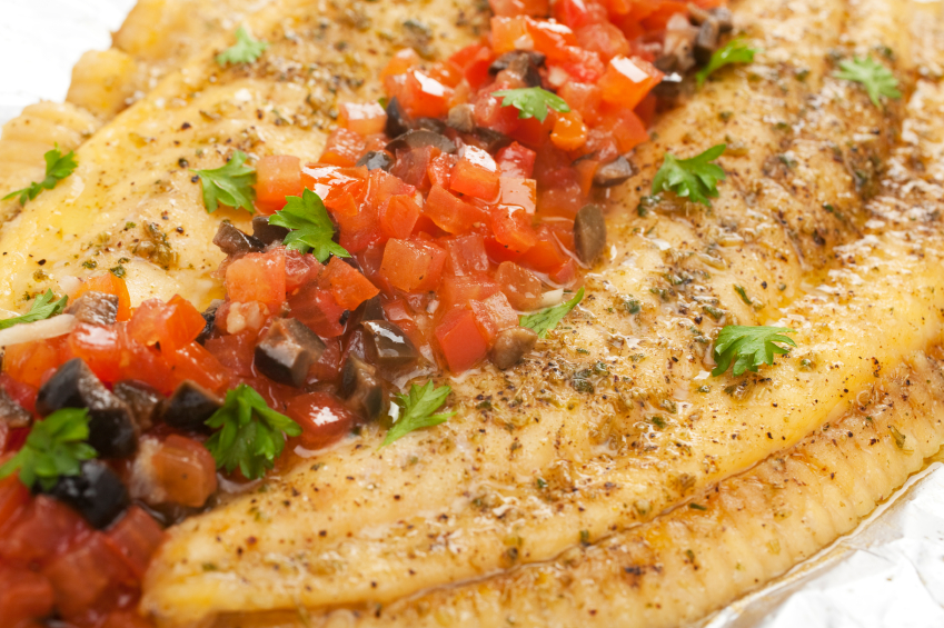 fish, olives, tomatoes