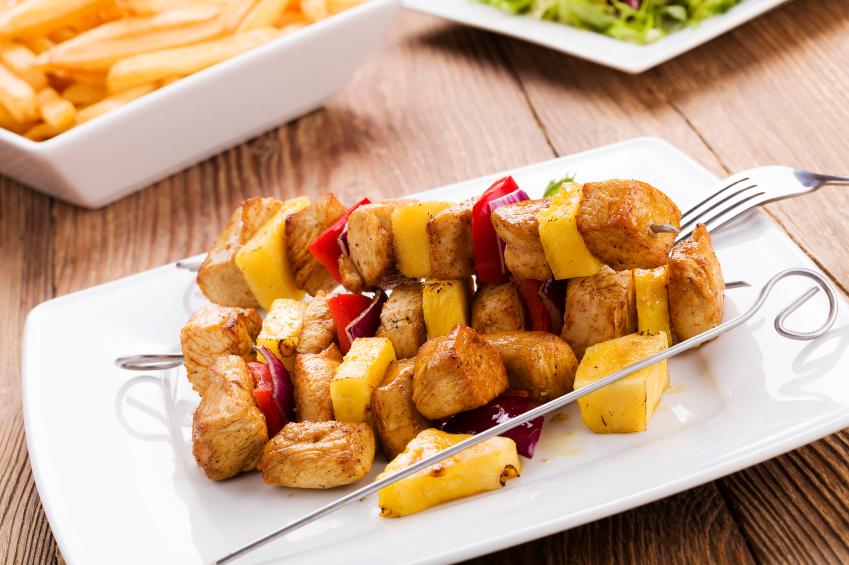 chicken skewers, kebabs