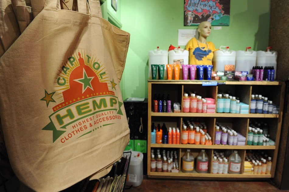 Hand bags and bath products (right) are among the many hemp products for sale at the 'Capitol Hemp' store on May 20, 2010 in the Adams Morgan neighborhood of Washington, DC. Hemp is not marijuana, but its resemblance to its cannabis cousin has kept the plant banned in the United States for decades despite a variety of uses for textiles, food, cosmetics and other purposes. (Photo by Tim Sloan/AFP/Getty Images)