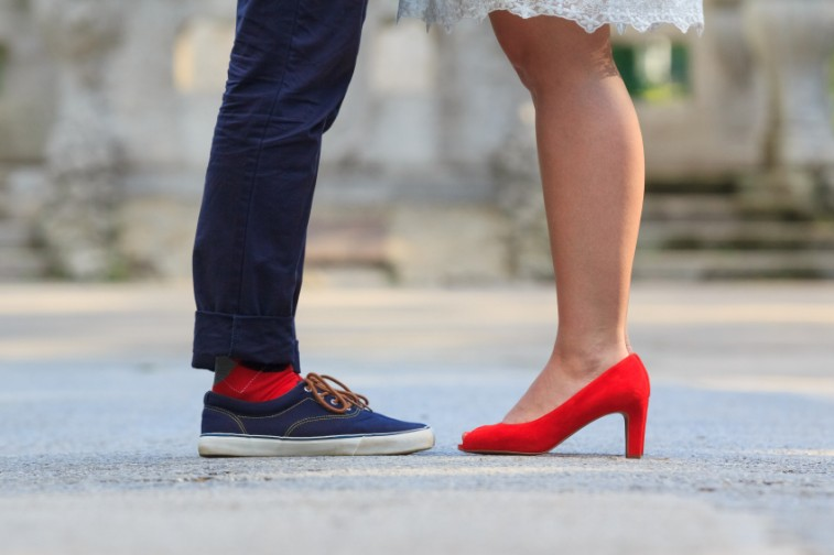 man and woman's shoes