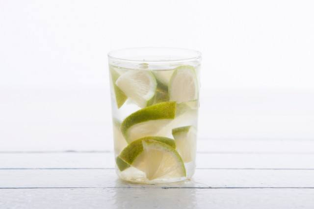 Lime in glass of water