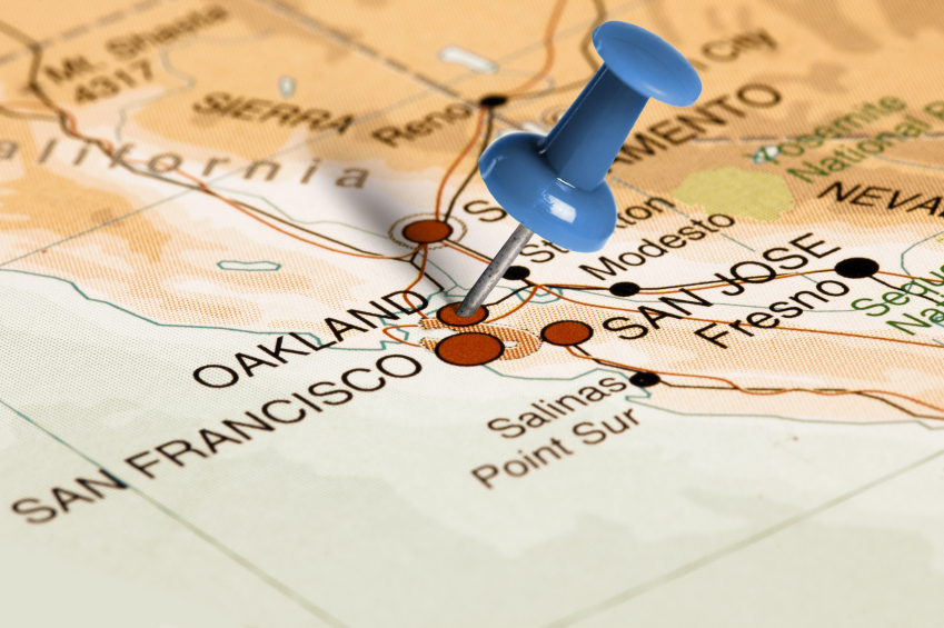 Oakland, California on a map