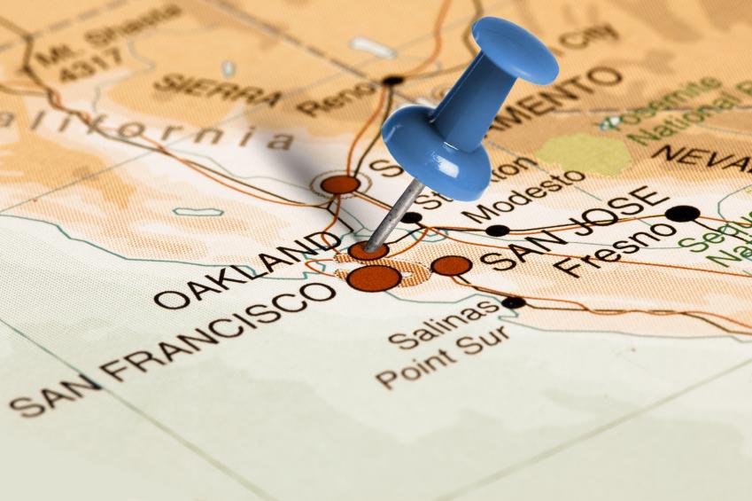 Oakland, California on a map