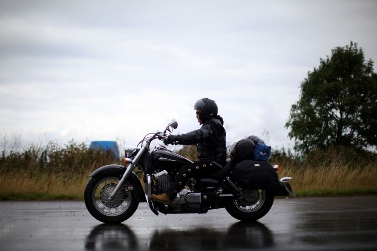 Motorcycle Rider in Rain