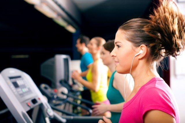 treadmill, headphones, music