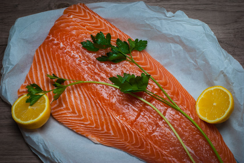 salmon on parchment paper