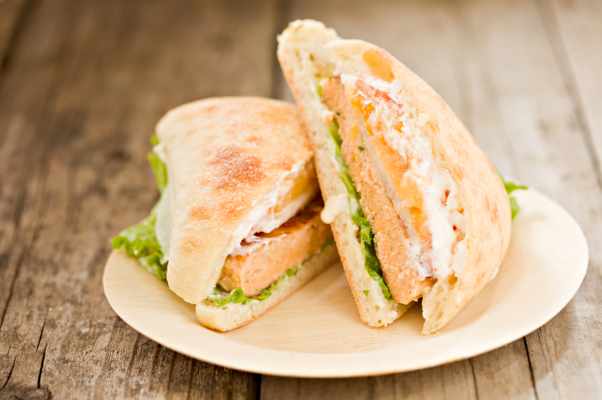 salmon burger on ciabatta