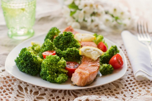 salmon, broccoli