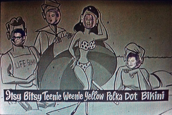 Four celebrities stick their heads into cardboard cutout scene on The Jackie Gleason Show