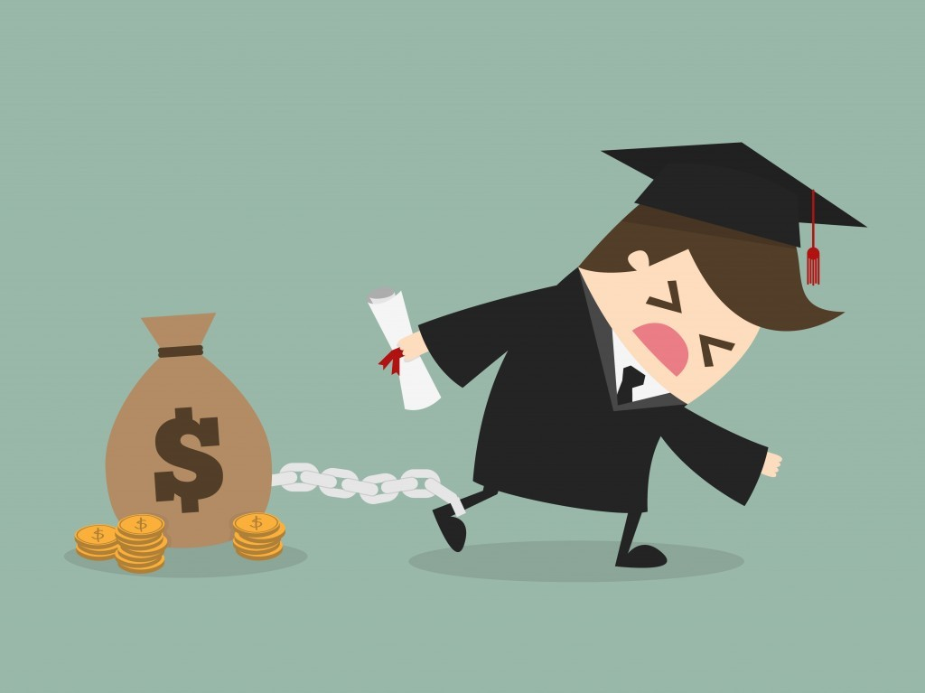 cartoon of graduate chained to bag of money representing a student loan