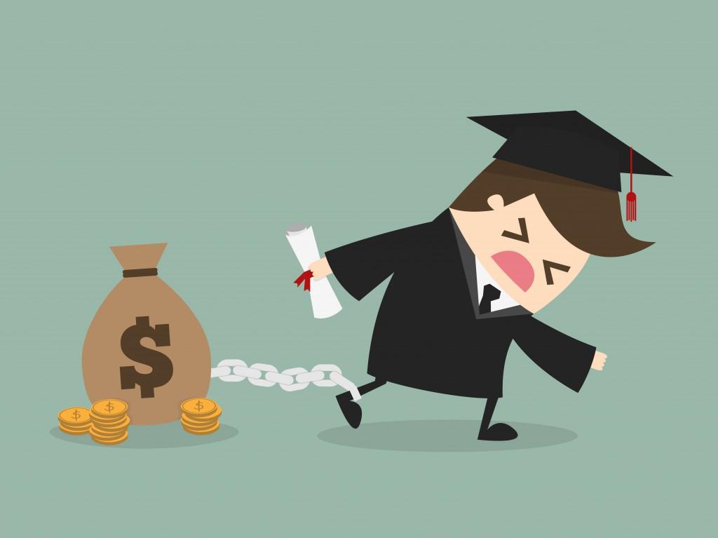 illustration of college graduate dragging student loans behind him
