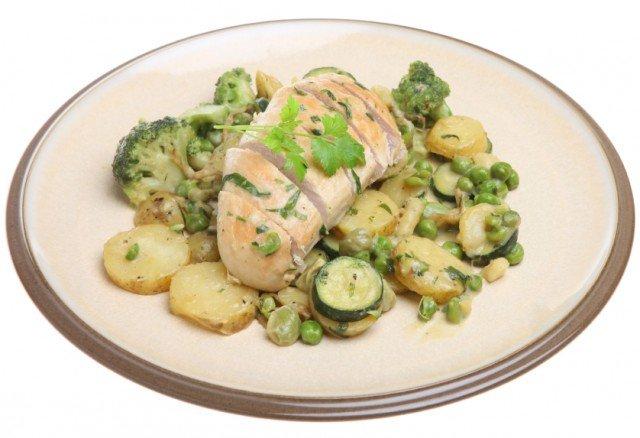 chicken, potatoes, peas