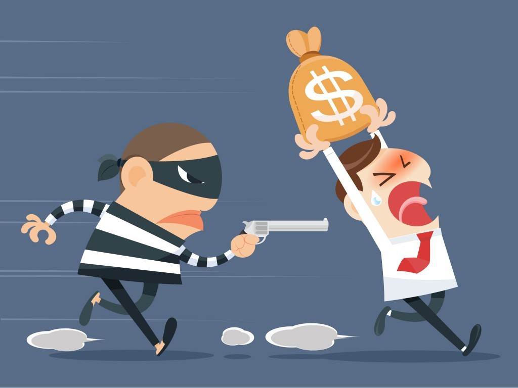 Man being chased by a debt collector