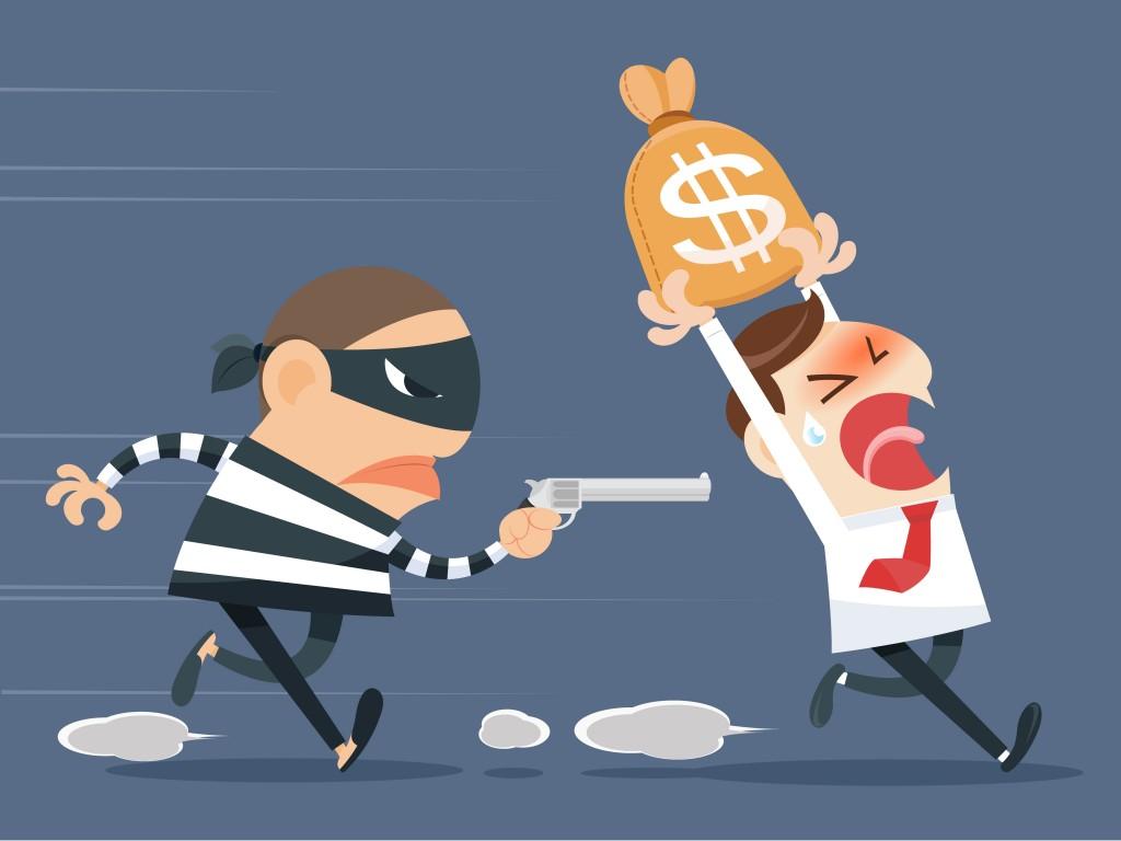 cartoon man getting robbed